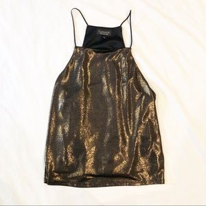 TOPSHOP Liquid Gold Metallic Tank Top Size 8